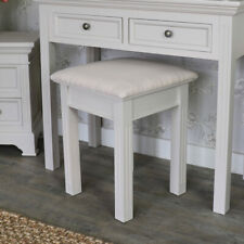 Taupe grey handpainted dressing table stool cushioned seat bedroom furniture
