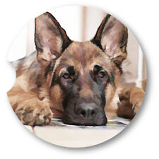 Oil Painted Style German Shepher Portrait Sandstone Car Coasters - Matching Pair