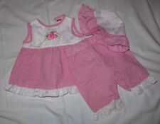 Fisher Price 3/6 months red checked white lace applique girls outfit
