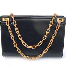 Authentic Vintage Milch Handbag Clutch Black Genuine Patent Leather Chain Strap