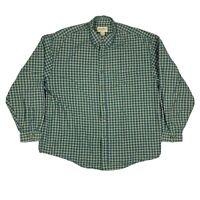 VTG Eddie Bauer Mens XL Green Blue Plaid Flannel Button Down Long Sleeve Shirt
