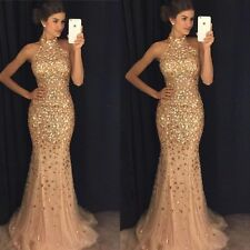 New Halter Gold Beaded Party Prom Dresses Mermaid Bridesmaid Dress Evening Gowns