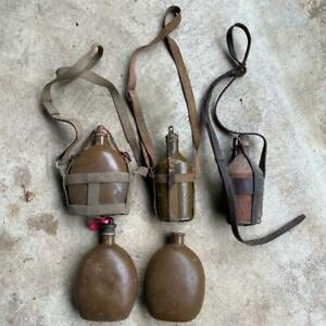 Old Japanese army water bottle Five set Shou 5 Old style canteen antique Rare