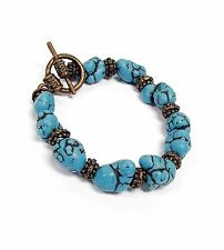 "Turquoise Western Style Gem Stone Toggle Non Stretch Bracelet 7.25"" New w/ bag"