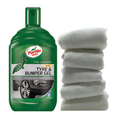 Turtle Wax Tyre Bumper Gel Plastic Rubber Cleaner Restorer + 5 Cotton Cloths