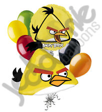 7 pc Yellow Chuck Angry Birds Balloon Bouquet Party Decoration Video Game Movie