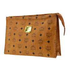 MCM Logos Pattern Clutch Hand Bag Brown Coated Canvas Germany Authentic #AB19 S