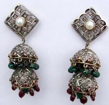 Pearl Victorian 925 Silver Dangler Earring 2.55cts Rose Cut Diamond Ruby Emerald