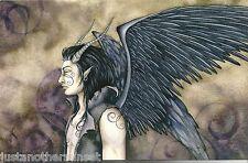 Amy Brown Print 5.5x8.5 Fairy Faery Malachai Black Feather Angel Wings Horns New