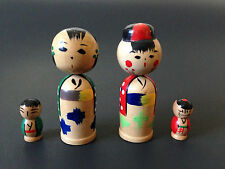 Japanese Vintage Kokeshi Wooden Nesting Dolls Hand Painted Parent Kids Set of 4