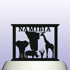 Acrylic Namibia Country Map and Wildlife Childrens Education Cake Topper
