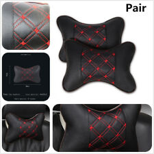 Car Seat Headrest Travel Neck Pillow Head Rest Support Cushion Soft 2 PU Leather