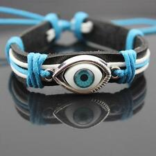 Unisex Blue Evil Eye Bracelet Braided Bangles Leather