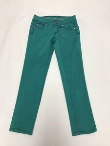 Justice Premium Jeans Size 7R Girls Pants Green Teal Cotton Blend Simply Low