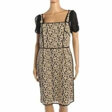 HOSS INTOPIA Dress Black Silk Beige Embroidered Cotton Size 36 UK 8 SW 160