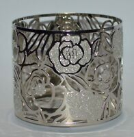 BATH & BODY WORKS SILVER ROSES GLITTER FLOWERS LARGE 3 WICK CANDLE HOLDER 14.5OZ