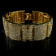 14k Gold Iced Out Simulated Diamond MicroPave Bling HipHop Adjustable Bracelet 3