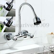 360° Pipe Swivel Wall Mount Chrome Pull Down Kitchen Sink Spray Faucet Mixer Tap