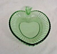 Vintage Green Depression Glass Bowl Dish apple shape nuts candy trinket jewelry