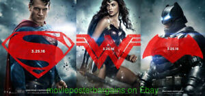 BATMAN VS SUPERMAN Dawn of Justice MOVIE POSTER 27x40 ALL 3 DS 2nd Advance Style