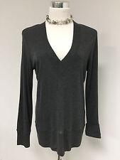 New Talbots Charcol Gray Solid LS V-Neck Pullover Rib Knit Sweater SZ L NWOT