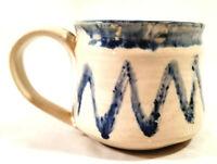 Signed Studio Art Pottery Thrown Coffee Mug Cup Blue Zig Zag Drip Glaze  Vicki