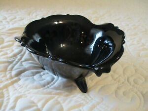 Vintage Black Glass Three Footed 3 Sided Candy Dish Amethyst