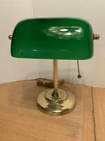 Vintage Brass Bankers Piano Desk Lamp Green Shade With Pull Change