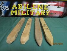 Wood Tent Stake Wooden US Military Heavy Duty  15 Inch 4 Stakes