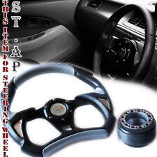 Mustang Type-R 320Mm Battle Style Racing Steering Wheel+ Hub Adapter Black/Silve