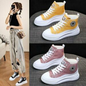 WOMENS PLATFORM CANVAS TRAINERS LADIES LACE UP HIGH TOP FLATFORM SNEAKERS SHOES