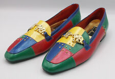 Vintage Colorblock Loafers Womens 10 N Annie Elephant Buckle Gold Studs 80s 90s