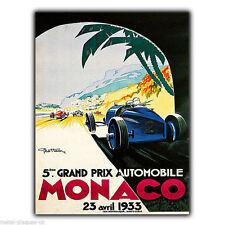 METAL SIGN WALL PLAQUE MONACO GRAND PRIX GP 1933 Retro Vintage poster art print
