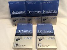Lot Of 5 Sony Betamax L-500 180-Minute Blank Video Cassette Beta Player NEW! S72