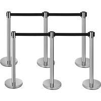 6 Pcs Retractable Crowd Control Barrier Poles Stanchion Post Queue Line Barrier