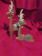 Reindeer Christmas Ornaments 1 standing, 1 laying (a)