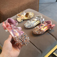Toddler Infant Kids Baby Girls Bow Bling Sequins Single Princess Shoes Sandals