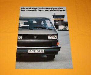 VW T3 Caravelle Carat 1983 Prospekt Brochure Prospetto Depliant Catalog Bus