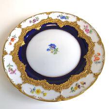 Meissen Kuchenteller Streublume B-Form Kobalt Blau Prunkform Gold Blumen