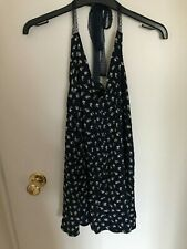 BNWT Forever21 Floaty Floral Navy Top with Lace Adjustable Straps Size Small
