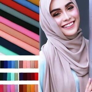 New Chiffon Scarf Hijab High Quality Elegant Sarong Shawl Wrap Plain Maxi Soft