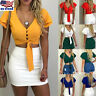 Women Sexy V Neck Bandage Lace Up Crop Top Summer Short Sleeve T Shirt Blouse US