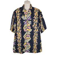 Vintage OP Hawaiian Camp Shirt Mens Medium Aloha Button Up Floral Black