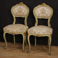Coppia di sedie veneziane poltrone salotto in legno laccato mobili stile antico