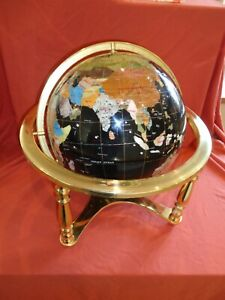 Rare Large Black 330mm Gemstone Lapis Rotating Globe + Brass Stand