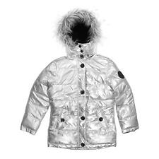 Diesel Faux Fur Hood Silver Insulated Puffer Coat Jacket for Girls