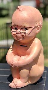 "Vintage 12"" KEWPIE DOLL 1966 Chalkware w/ Glasses Coin Bank A N Brooks Corp Baby"