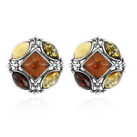 925 Sterling Silver Amber Cute Stud Solitaire Earrings Women Jewelry For Gift