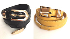 NWT Woman's Skinny Belts Lot of 2 Black & Yellow Faux Leather US Seller