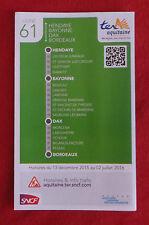 Fahrplan SNCF TER Aquitaine Hendaye - Bordeaux Linie 61 - nicht Deutsche Bahn